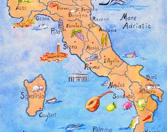 ITALY CALABRIA SICILY  3 Illustrated Maps
