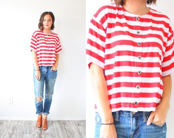 Vintage short sleeve striped red shirt // nautical boho shirt // oversized shirt // striped top // short sleeve blouse // red summer top