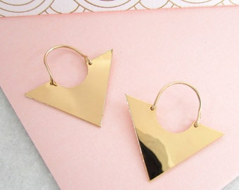 Triangle Earrings - Geometric Earrings, Gold Triangle Earrings, Dangle Earrings, Minimalist Earrings, Minimalist Jewellery, Gifts for her