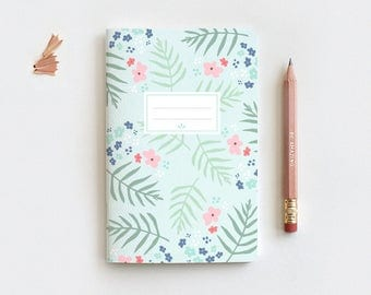 Spring Mint Floral Journal & Pencil, Midori Insert, Hand Drawn Illustrated Palm Leaf Floral Notebook, Blank Lined Dot Grid