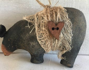 primitive black bear ornament - primitive ornaments - primitive Christmas ornaments - animal ornaments - woodland Christmas ornaments