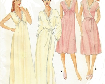 80s Womens Empire Waist Nightgown and Robe in 2 Lengths Butterick Sewing Pattern 4096 Size 20 22 Bust 42 44 FF Vintage Sewing Patterns