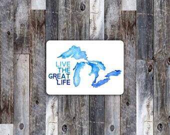 Michigan map sticker, Michigan Decal, Michigan Peninsulas, Vinyl Sticker, Watercolor Michigan Sticker, colorful michigan sticker