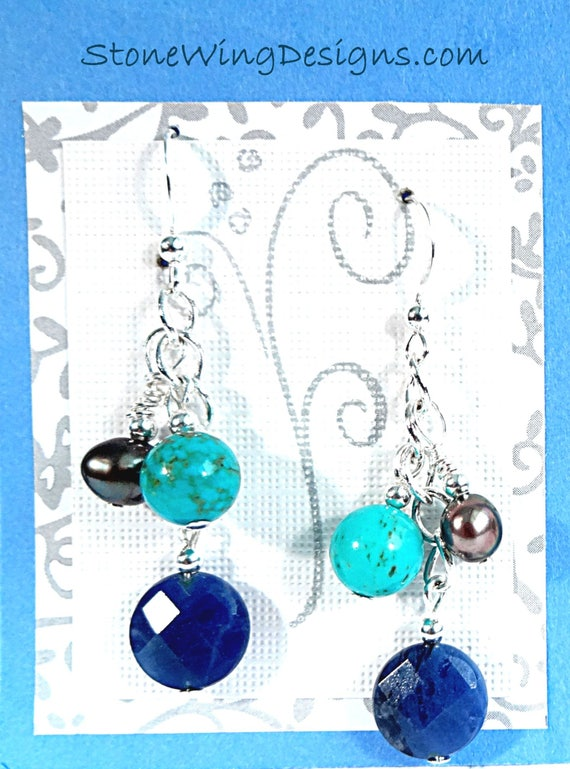 Sodalite, Turquoise and Pearl Gemstone Earrings