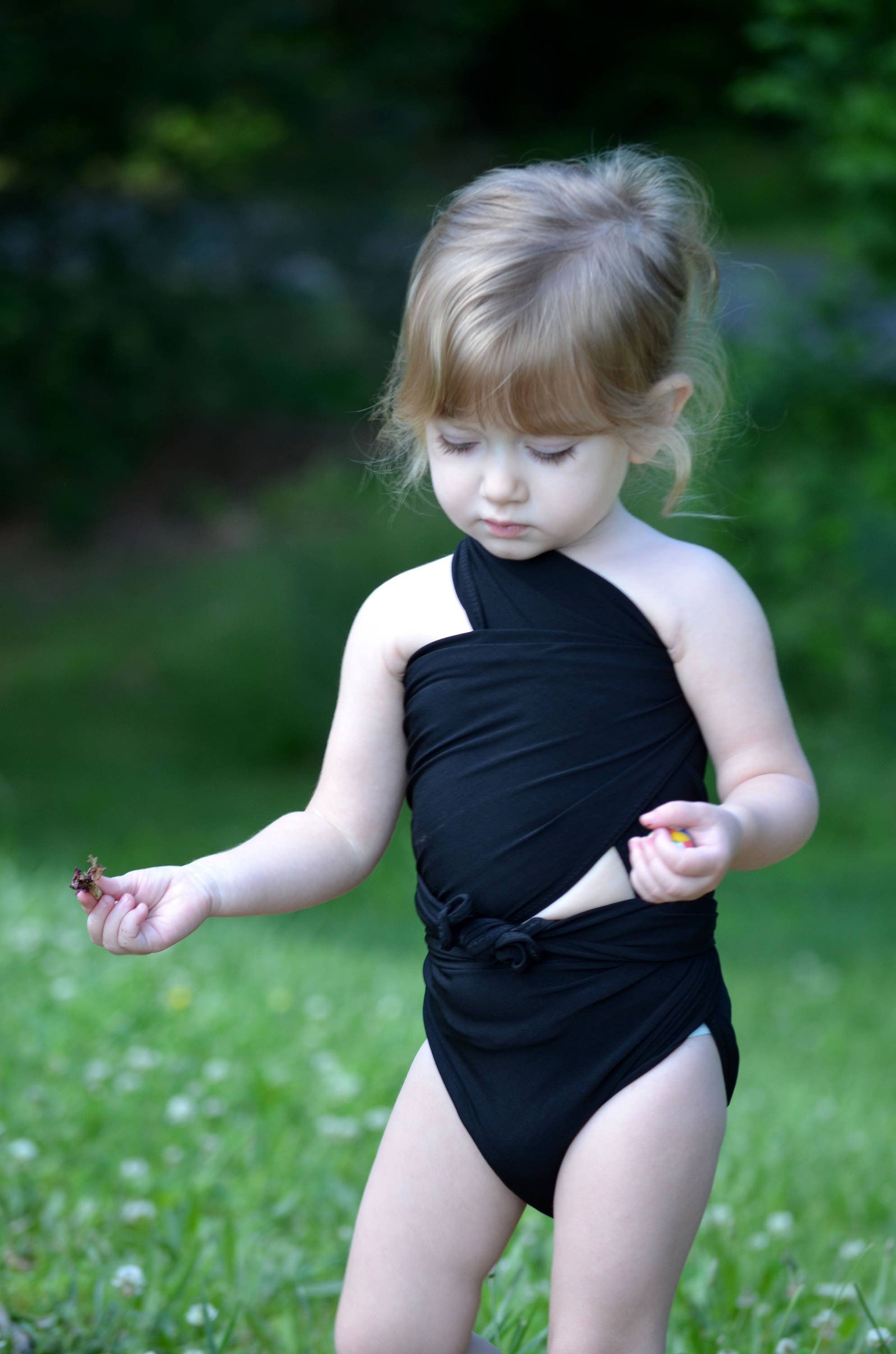 Pre Teens Swim Suit Bottom On Only Pictures: Extra Small Bathing Suit Classic Black Wrap Around Swimsuit