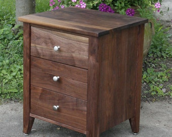 BT030A Hardwood Bedside Cabinet,3 Inset Drawers, optional sizes available - natural color