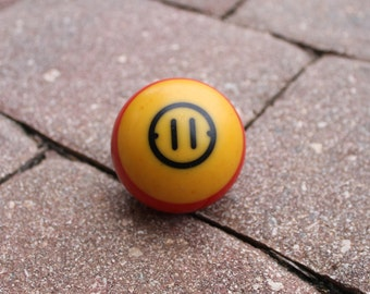 Old Billiards Ball, Number 11, Red Yellow and Black, Vintage Pool Table Ball, FREE Domestic Shipping