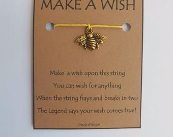 Bee Goldtone Charm WISH STRING Bracelet String Friendship Bracelet  Amulet Lucky Stocking Stuffer