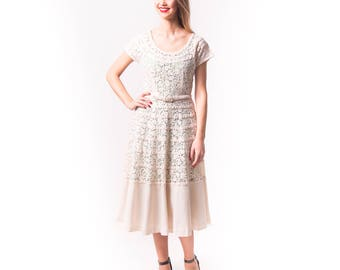 1950's Linen and Lace Cream Party Dress/ 50's Wedding Dress/ Garden Party Dress