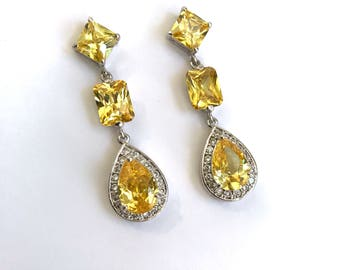 Vintage Citrine Yellow Sapphire and Pave Estate Jewelry Earrings Multi Stone Formal Earrings Yellow Stone White Stone Long Dangle Earrings