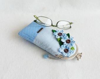 Beautiful Blue Glasses Case, Eyeglass Case, Spectacle Case, Metal Frame Purse