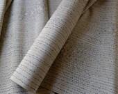 Vintage Silk Kimono Fabric unused bolt by the yard Tsumugi Woven Floral Plants Greenish Grey Gold Thread  100% silk OFF the bolt