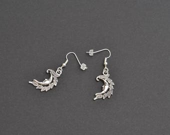 CRESCENT MOON Charm Silver Plated Ear Wire (or clip ons) Dangle Earrings - bj