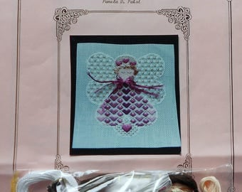 Needlepoint Kit | CELEBRATION ANGELHEART ANGEL | Pamela D Pabst | Needlepoint Pattern | Canvas | Threads | Stretcher Bars | Instructions