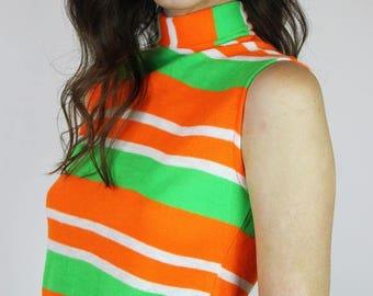 1960s Orange and Green Striped Turtleneck Tank
