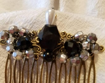 Black beauty silver and black beaded hair comb