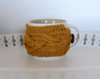 Coffee Cozy - Mustard Yellow - Tea Cozy - Gift Idea - Cabled Cup Cozy - Cosy -Stocking Stuffer -Gifts for Her - Gifts for Him