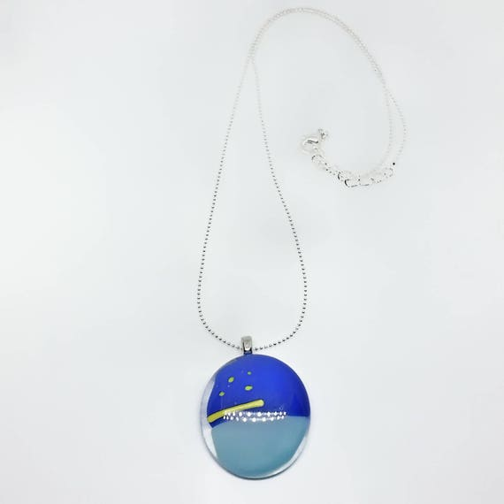 Glass Pendant - Blue and Yellow on Silver Chain