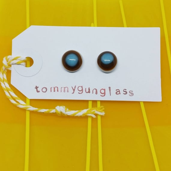 Brown and Blue Glass Stud Earrings