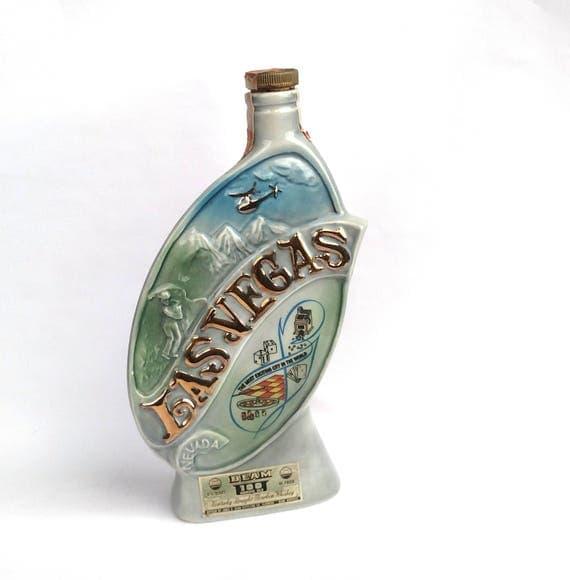 Vintage 1969 Jim Beam Collectible Bourbon Bottle - Las Vegas - Genuine Regal China