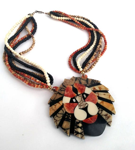 Vintage Giant Lion Head Beaded Statement Necklace