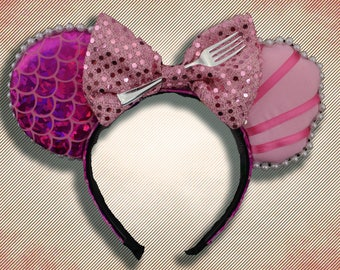 Pink Mermaid Mouse Ear Headband with Fork & Bow