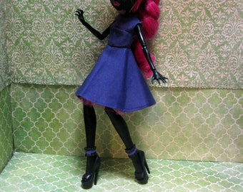 Made To Order - Monster High Doll Clothes - 50s Rockabilly Purple Dress with headscarf!