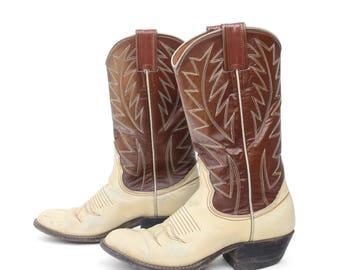 6 B | Women Vintage Cowboy Boots Two Tone Cream & Brown Wetsern Boots