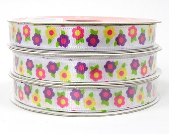 Brightly Colored Spring Flower Ribbon, Pink Flowers, Purple Flowers, Yellow Flowers, White Ribbon with Flower Design 3/8 inch 3 yards