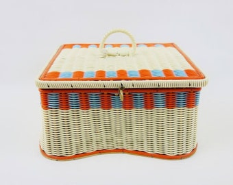 Vintage Sewing Craft Basket Box or Jewelry Treasure Box