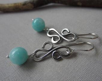 Silver Wire Earrings/ Amazonite Earrings/ Sterling Earrings/ Blue Dangle earrings/ Silver Hammered earrings/ Handmade earrings