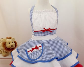 Little Girl's Dorothy In Oz Pin Up Apron, Costume, Wizard of Oz