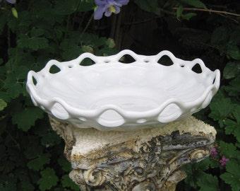 White Milk Glass Bowl, Open Lace Bowl, Large Bowl