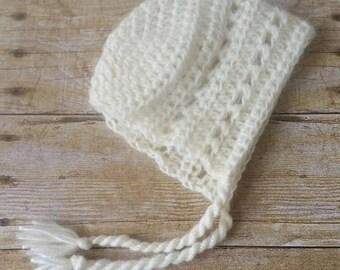 Alpaca Blend 3-6 Month Crochet Baby Bonnet - Cream Lace - Photo Prop