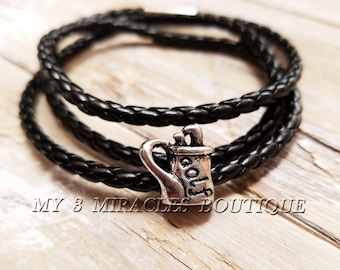 Men's Golf Genuine Real Leather Bracelet Triple Wrap Woven Cuff Fathers Day Dads Idea Teens Black or Brown Jewelry Gifts for Him Grandpa