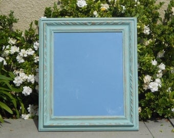 Vintage Shabby Farmhouse Carved Wood Mirror - French Country Large Wall Mirror - Distressed Robin's Egg Blue