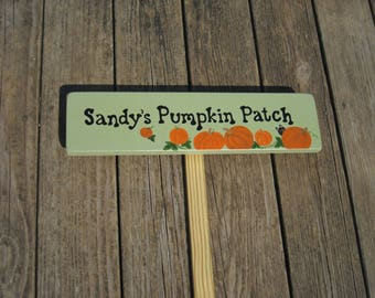 PERSONALIZED PUMPKIN PATCH Sign, Pumpkin Patch, Sign with stake, Hand Painted Garden Sign, Garden Sign, Gift for Gardener, Garden Marker