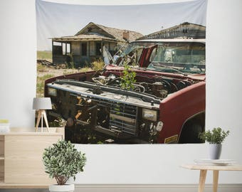 Ghost Town, Rustic Wall Tapestry, Vintage Car Decor, Gift for Mechanic, Tapestry for Men, Garage Wall Tapestry, Urbex Decor, Rustic Tapestry