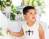 Baptism Cross Embroidered Jon Jon, Ivory Cotton Romper, longalls..baby boy baptism clothes, 3m,6m,9m,12m,18m,2t,3t