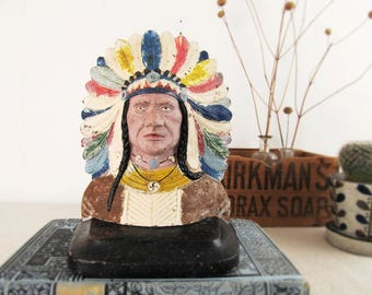 Native American Indian bookend,vintage bookend,polychrome,Indian Chief,cast iron doorstop,antique doorstop,circa 1930