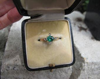 Antique Victorian Era Green Tourmaline and Rose Cut Diamond Conversion Ring in 18k Gold and Silver