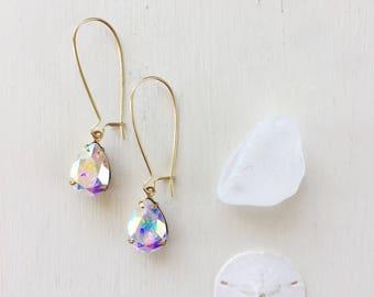 Vivienne Earrings in Aurora Borealis || Swarovski Crystal Earrings, Long Earrings, Gold Earrings, Sparkly Earrings, Bridal Earrings