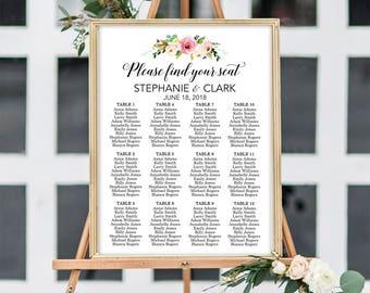 Wedding Seating Chart, Wedding Seating Sign, Please Find Your Seat Seating Chart, Wedding Seating Plan, Floral Seating Chart, Seating Chart
