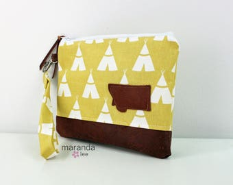 Flat Clutch Large Tee Pee Mustard with MT Patch PU Leather READY to SHIp