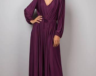 Purple Jumpsuit, Dark purple Jumper Maxi Dress, Long sleeve jumper : Chic & Casual Collection