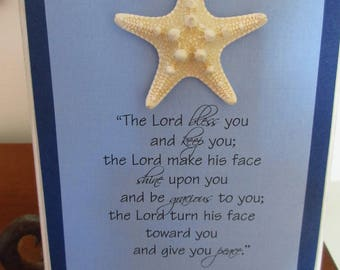 The Lord Bless You and Keep You WORD Art Wall Art Shelf Art Light Blue Navy and White w/ Knobby Starfish
