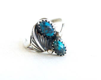Turquoise Ring Size 6 Vintage Sterling Silver Double Feather Southwestern Jewelry December Birthday