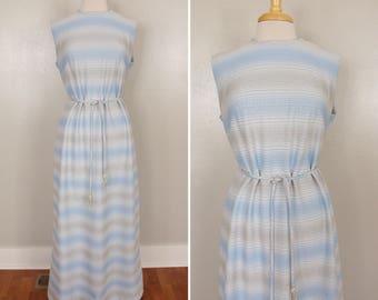 60s Metallic Gown // 1960s Striped Maxi Dress // Silver Tassel // 42 inch bust