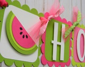 Pink and Green Watermelon Birthday Banner, Watermelon Party Banner, Watermelon Party Decor, One in a Melon Party, Watermelon First Birthday