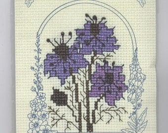 Love-in-a-Mist Flower Greeting Card Counted Cross-Stitch Kit